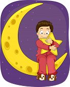 picture of pajamas  - Illustration of a Little Boy in Pajamas Sitting on the Moon - JPG