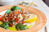 image of halibut  - Baked halibut with vegetable garnish and couscous - JPG