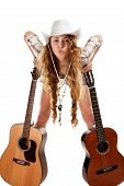 image of cowgirl  - Sesy cowgirl in cowboy hat with a nylon string acoustic guitar - JPG