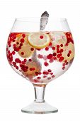 stock photo of infusion  - Cranberry lemon detox water in a glass jar - JPG