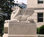 pic of amtrak  - Lion sculpture in Louisiana Avenue in Washington DC - JPG