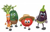 stock photo of animated cartoon  - Set of  Cartoon Vegetables with Clothes - JPG