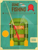 stock photo of fishing bobber  - Fishing Retro Poster - JPG
