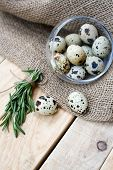 foto of quail  - Quail eggs a bunch of rosemary and burlap are on the unpainted wooden background - JPG
