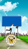 picture of leaping  - Happy businessman leaping with his briefcase against road leading out to the horizon - JPG