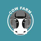 stock photo of cow head  - Cow farm logo - JPG
