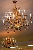 foto of banquet  - Large Chandelier in wedding banquet hall cieling - JPG