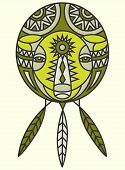 stock photo of dream-catcher  - A tribal bear design in the shape of a dream catcher with feathers - JPG