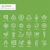foto of afforestation  - Set of thin line web icons for ecology - JPG