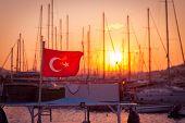 picture of marina  - Bodrum marina at sunset Turkey Beautiful soft colors - JPG