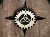 picture of compass rose  - close photo of nice wooden compass rose - JPG