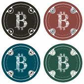 stock photo of bit coin  - Set of four colored flat simple frames and the symbol of bit coin - JPG
