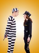 pic of inmate  - Police and prison inmate against the gradient - JPG