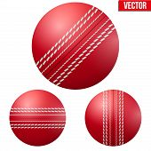 image of cricket ball  - Traditional shiny red cricket ball - JPG