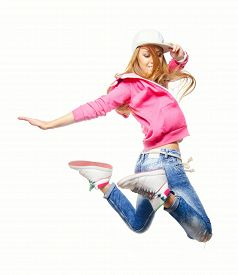 stock photo of  dancer  - Hip hop dancer jumping high in the air isolated on white background - JPG