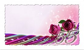 pic of fifties  - birthday concept with pink roses and sparks  - JPG