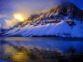 First Sunlight On Crowfoot Mountain Banff National Park Canada