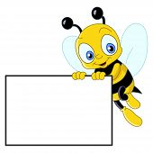 stock photo of hornets  - Illustration of a cute bee holding a blank sign - JPG
