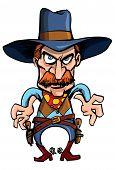 pic of gunfights  - Cartoon cowboy ready to draw his guns in a gunfight - JPG