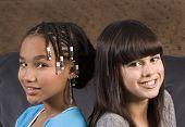 Cute African American Girl With Caucasian Girl Freind poster
