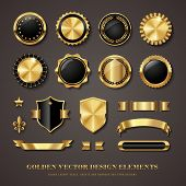 collection of elegant black and golden design elements - shields, labels, seals, banners, badges, sc poster