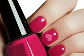 Постер, плакат: Valentine Nail Art Manicure Valentines Day Holiday Style Bright