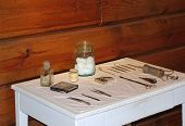 image of naphthalene  - Old medical instruments of nineteenth century in public museum - JPG