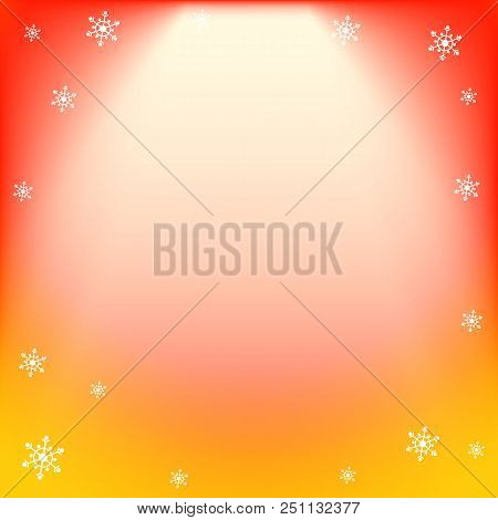 poster of Winter Vector Red And Yellow Light Effect, Projector Ray With Shining Halo And Snowflakes. Falling M