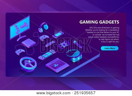 poster of Gaming Gadgets Vector Isometric Concept Background. Modern Devices For Video Games, Headset And Glas