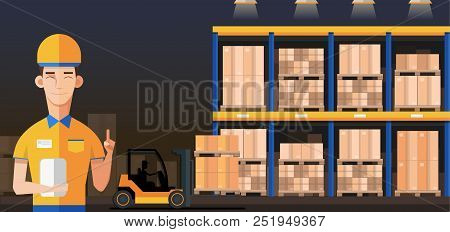 poster of Warehouse Manager Or Worker In Warehouse Interior With Goods, Pallet Trucks And Container Package Bo