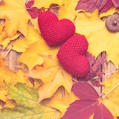 Autumn Leaves With Two Hearts. Symbol For Loving Autumn Season. Autumn Mood. Seasonal Sales. Autumn  poster