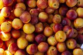 Texture Of Fresh Nectarines Top View. Box With Nectarines In Store. Tasty Sweet Fruit For Dessert, S poster