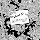 black and white handdrawn floral background or cover with label for your text