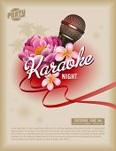 image of frangipani  - retro party flyer or poster template with microphone and exotic flowers - JPG