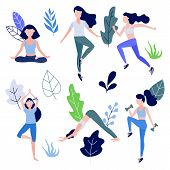 Cute Slim Girl Standing Doing Yoga Exercise Or Stretching, Workout With Dumbbells And Jogging On Abs poster