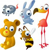 vector animal set 31: mouse, hare, flamingo, bear, bee