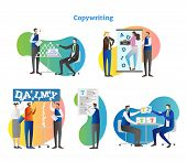Copywriting Vector Illustration Collection Set. Work With Freelance Editor And Author For Media Proj poster