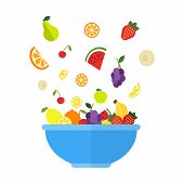 Fruits And Berries Are Falling In Big Blue Bowl. Fresh Fruit Salad Isolated On White Background. Fru poster