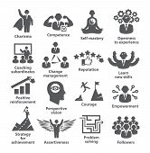 Business Management Icons Pack 45 Icons For Leadership, Idol, Career poster