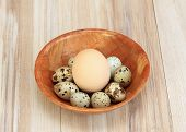 Partridge Eggs And One Chicken Egg For Contrast. Big Chicken Egg And Quail Spotted Eggs  In A Bowl O poster