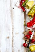 Variety Of Fresh Organic Peppers: Cherry Hot Red Peppers, Long Red And Green Peppers, Sweet Banana P poster