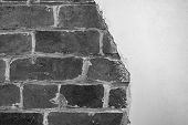 Part Of The Red Brick Wall Of An Old House With A Figured Pattern Of White Putty. Black And White Ba poster