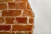 Part Of The Red Brick Wall Of An Old House With A Figured Pattern Of White Putty. Background, Contra poster