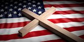 Usa And Christianity. Christian Cross On American Flag Background. 3d Illustration poster