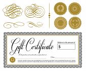 stock photo of certificate  - Vector Ornate Vintage Certificate and Ornaments - JPG