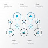 Media Icons Colored Set With Overcast, Mates, Dialogue And Other Dialog Elements. Isolated Vector Il poster