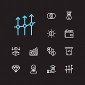 Economy Icons Set. Mutual Funds And Economy Icons With Inventor, Jewelry And Exchange. Set Of Deposi poster