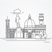 Linear Illustration Of Florence, Italy. Flat One Line Style. Trendy Vector Illustration. Architectur poster