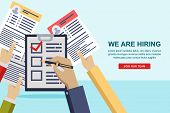 Hands Giving Cv Resume Documents To Hr Manager. Human Resources Interview Concept. Recruitment And H poster