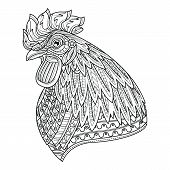 Rooster Head. Adult Anti Stress Coloring Page. Black And White Hand Drawn Doodle For Coloring Book poster